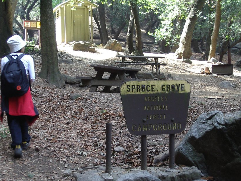 Spruce Grove campground sign, tables, and biffy.