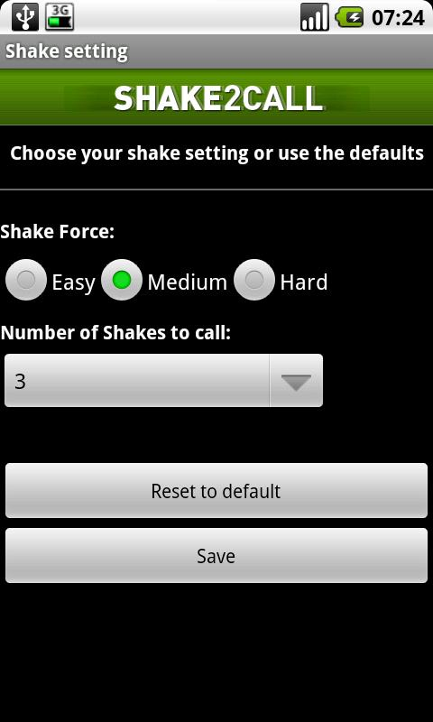 Shake2call Lite - screenshot