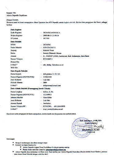 Pengajuan Admin Dapodik Sekolah Sdn Dadap Ii