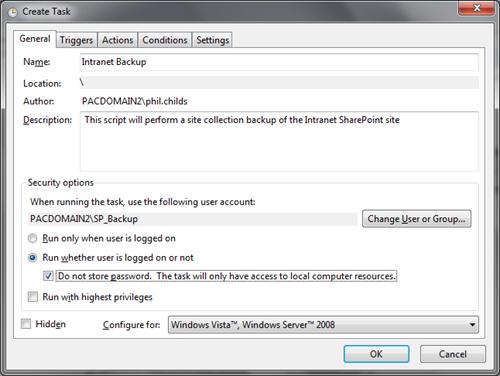 Running a SharePoint PowerShell script from Task Scheduler