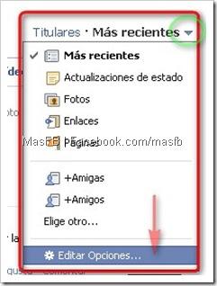 Editar Opciones del Inicio de Noticias Facebook