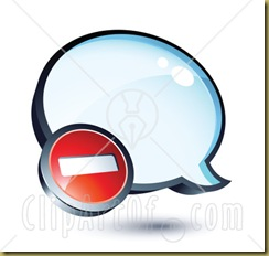 34145-Clipart-Illustration-Of-A-Negative-Subtraction-Symbol-On-A-Shiny-Blue-Thought-Balloon-Or-Instant-Messenger-Window