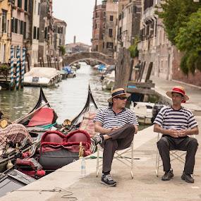Venice life  by Lauren Carroll - People Street & Candids ( streetphotography, friendsatwork, matchingshirts, venice, italy,  )