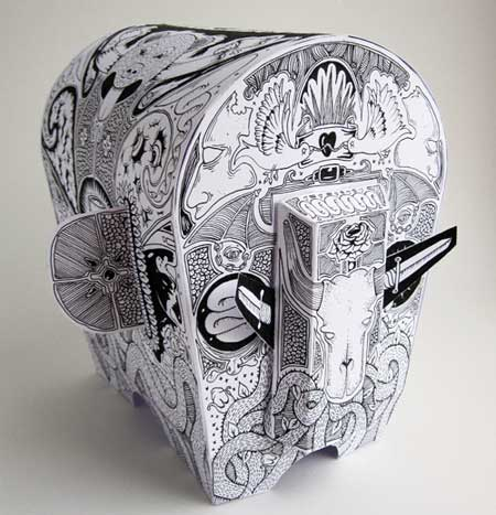 Tattooed Elephant Papercraft