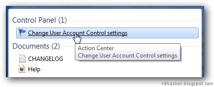 Type UAC and reach to UAC settings