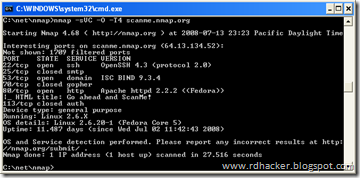 NMAP running on Windows XP command prompt