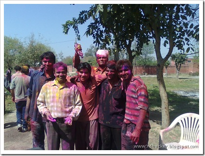 These guys are all good hackers and system security experts,now with me In center are Holi fanatic hackers :)
