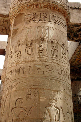 Karnak-Temple-column-Luxor - Columns inside the Karnak Temple compound at Luxor, Egypt. See it as part of a cultural experience aboard Uniworld's River Tosca or Princess Cruises' Pacific Princess.