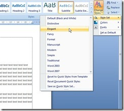 change style untuk costumize format style word 2007