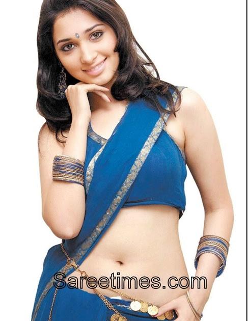 Tamanna in Blue Designer Saree | sareetimes