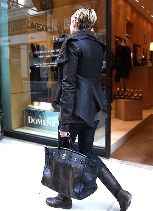w leather coat and bag 3b