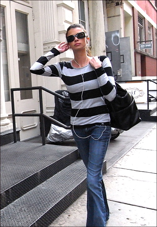 w shirt gry blk hor stripes