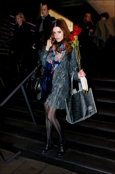 w red hair red roses stripe and dot stockings crumple coat
