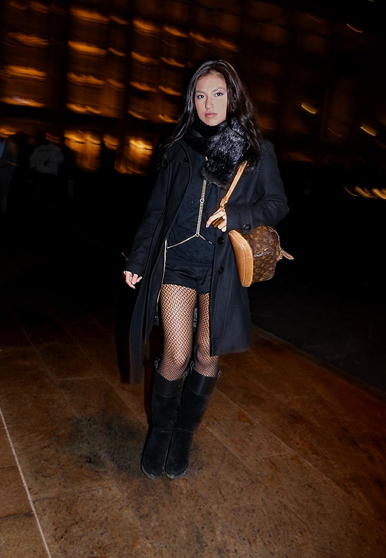 w Samantha Lim - Fashionindie all black net stockings fur scarf Loius Vuitton bag