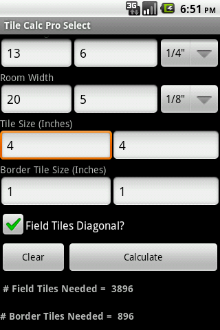 Tile Calc Pro Select - screenshot