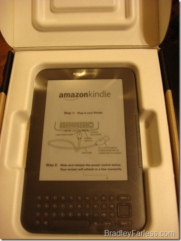 A Kindle 3 in the box.