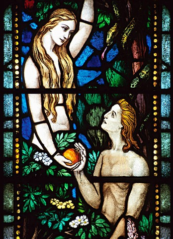 Adam and Eve stained glass window.