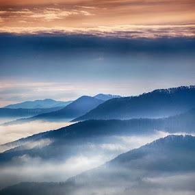 Misty mountains by Bogdan Blaga - Landscapes Mountains & Hills ( mountains, sky, blue, fogg, misty )