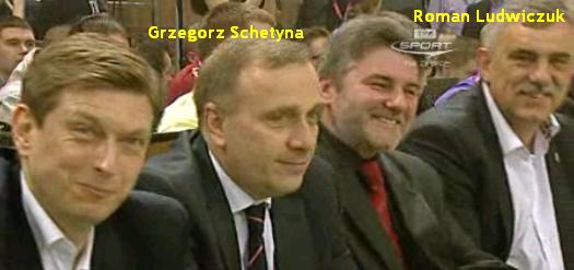 Grzegorz Schetyna i Roman Ludwiczuk na meczu gwiazd Polskiej Ligi Koszykówki Kalisz 2011, Platforma Obywatelska, junta