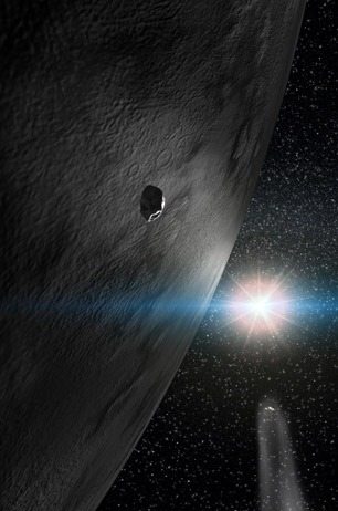 This artist's conception shows asteroid 24 Themis and two small fragments, lit by the sun. The artist has depicted one of the small fragments as inert, as most asteroids are, and the other as having a comet-like tail, produced as water ice vapourizes from its surface. (Gabriel Prez, Servicio MultiMedia, Instituto de Astrofisica de Canarias, Tenerife, Spain)