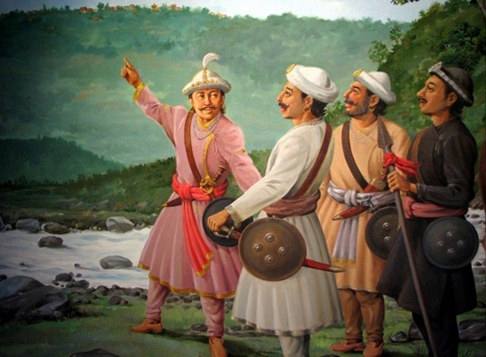 historical_king_prithvi_narayan_shaha_showing_nuwakot_darbar_to_his_troops