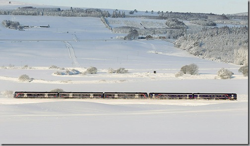 Snow train in scotland