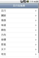 Screenshot of 五行生剋表 Wu Xing Table