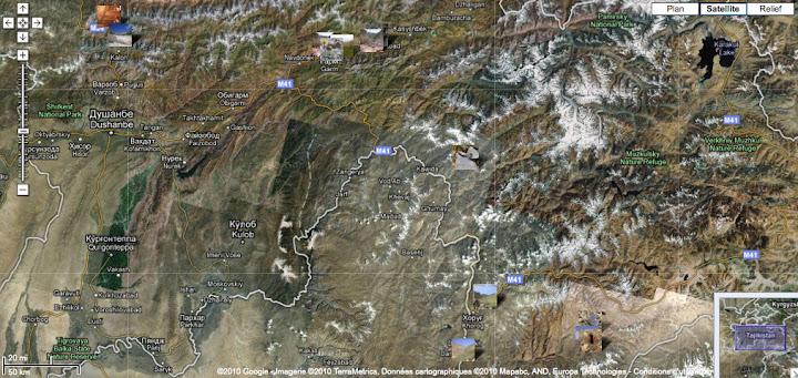 Expédition Tadjikistan 2008 : localisation des photos
