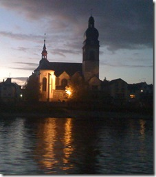 Rhine River Lighted Church