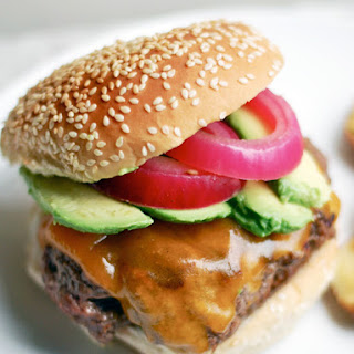 Cheeseburgers with Pickled Onions and Avocado