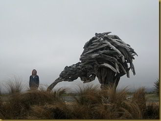 Me and a giant Kiwi in National Park. The weather wasn't exactly great.