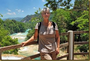 Barbara Weibel at Agua Azul Waterfall, Chiapas, Mexico