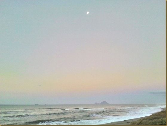 Moon rise off New Zealand coast