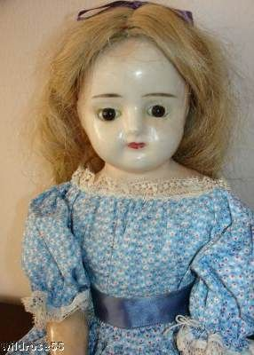 Alice in Wonderland Antique wax doll paperweight eyes reinforced wax redressed as 1890s