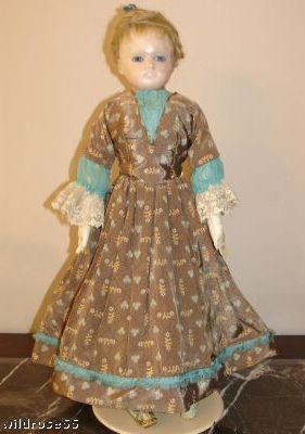 Antique doll reinforced wax French Fashion paperweight eyes 1880s 1890s