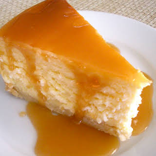 Classic Cheesecake with Salted Caramel Sauce.