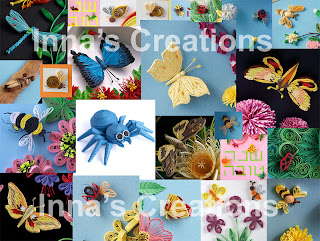 Insects, various designs using paper quilling