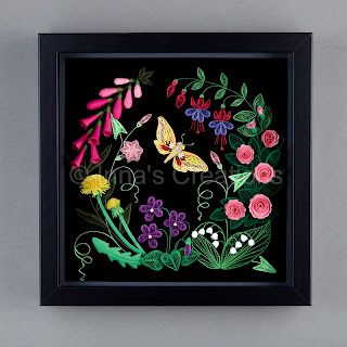 Quilled flowers, framed