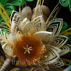 Quilling in a fish bowl, flower close-up