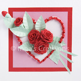 Folded roses on a Valentine card