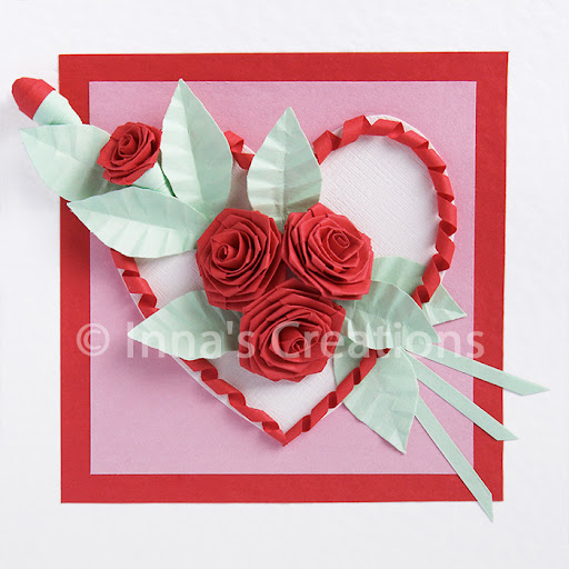 Innas creations how to fold a rose quilling folded roses on a valentine card mightylinksfo