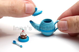 Miniature quilled teapot