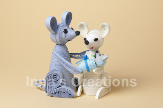 Quilled mice, front view