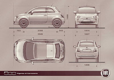 Fiat 500 dimensions inches