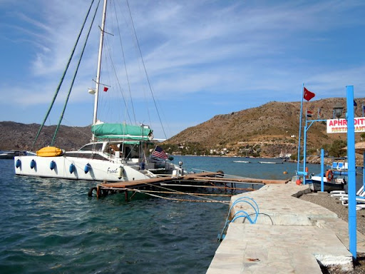 Free moorage at the Aphrodite Restaurant and Pension