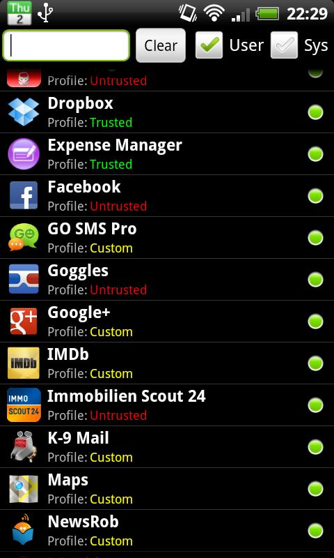 PDroid Privacy Protection - screenshot