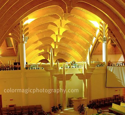 Ceiling of the new reformed church in Cluj Napoca designed by architect Imre Makovecz - interior