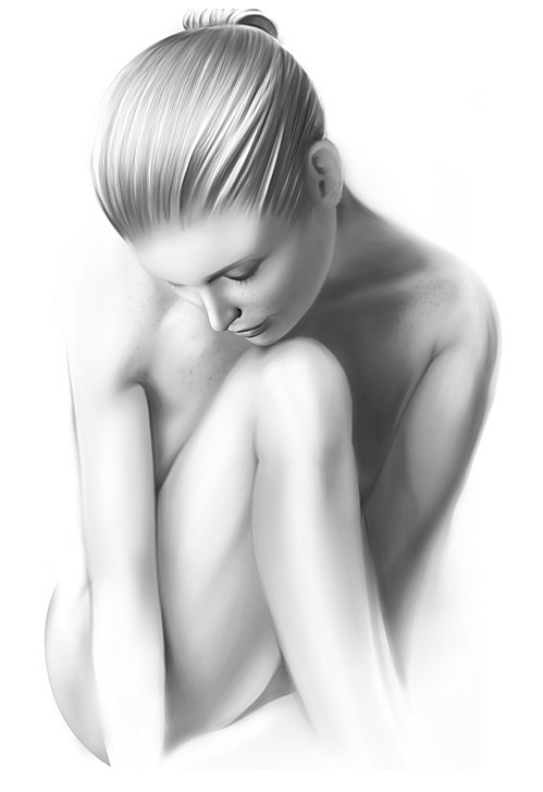 Black and While Digital Illustration of Girl