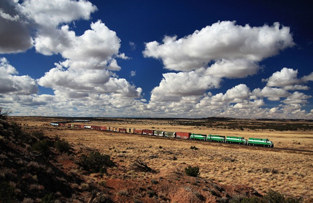 A 95 car train across the vast Arizona landscape on its way to Holbrook to interchange with the BNSF.