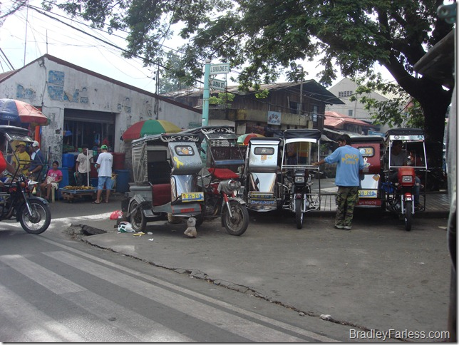 Tricycles, a popular mode of transportation in the Philippines.